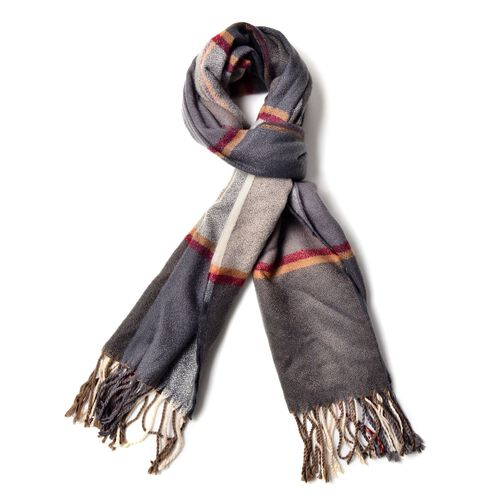 Light Grey, Deep Grey ,Red, Orange and Cream Colour Scarf with Long Tassels (Size 180x65 Cm)