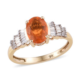 9K Yellow Gold AAA Jalisco Fire Opal (Ovl), Diamond Ring 1.00 Ct.