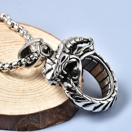 Dragon Pendant with Chain (Size 23.5) in Stainless Steel