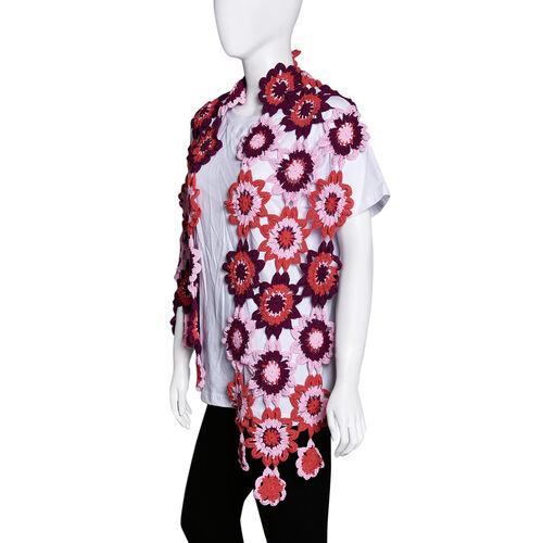 Limited Collection La Marey 100% Cotton Hand Crochet Red & Multi Colour Floral Scarf (144x27x7cm)