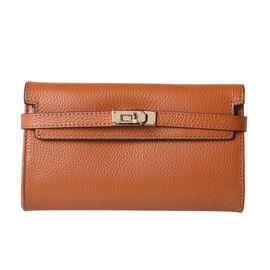 Super Soft  Genuine Leather Clutch RFID Wallet (Size 19x2x10cm)  - Orange