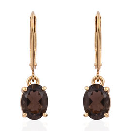 AAA Brazilian Smoky Quartz (Ovl) Lever Back Earrings in 14K Gold Overlay Sterling Silver 2.250 Ct.