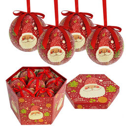 Set of 14 - Red and Multi Colour Santa Pattern Christmas Decoration Baubles in a Box (Size 21.5X15 C