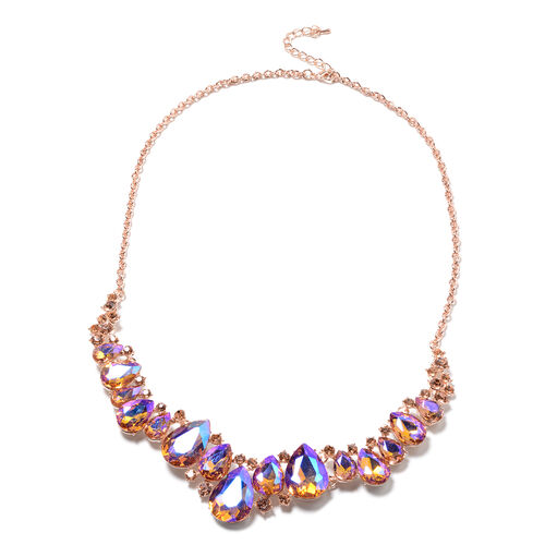Simulated Champagne, AB Crystal and Champagne Austrian Crystal Necklace (Size 20) in Rose Gold Tone