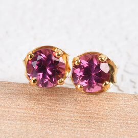 Rose Garnet Stud Earrings (with Push Back) in 14K Gold Overlay Sterling Silver 0.75 Ct.