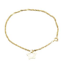 9K Yellow Gold Star Charm Twist Curb Bracelet (Size 7) ,  Gold Wt. 0.97 Gms