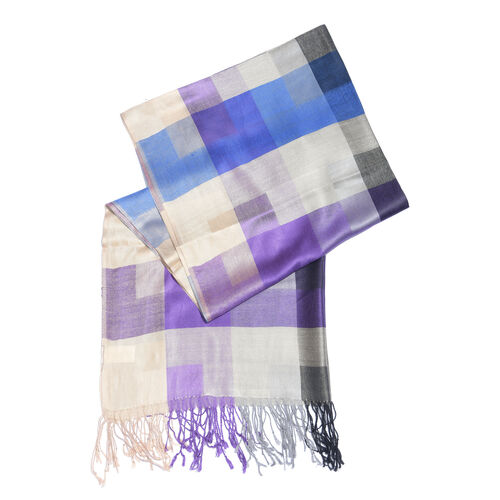 Purple, Cream and Multi Colour Checks Pattern Scarf with Fringes (Size 190X70 Cm)