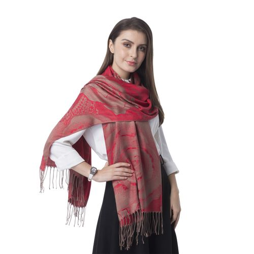 Designer Inspired- Red Colour Sub Shrubby Peony Floral Pattern Monochrome Scarf with Tassels (Size 180X68 Cm)
