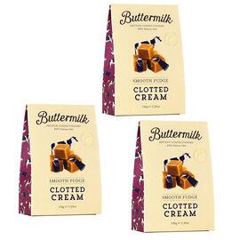 Buttermilk 3 x 150g Clotted Cream Fudge sharing box