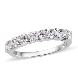 J Francis - Sterling Silver (Rnd) Half Eternity Ring Made with  SWAROVSKI ZIRCONIA