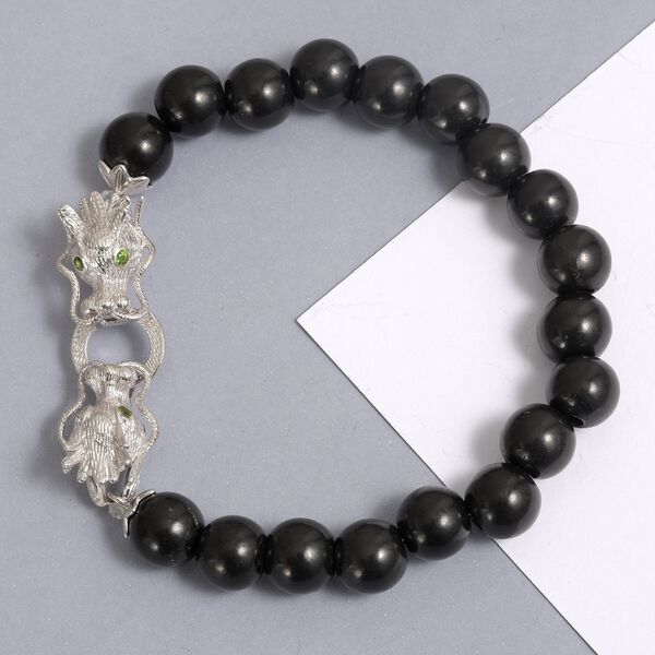 Shungite (Rnd 10mm), Russian Diopside Stretchable Dragon Head Beads Bracelet (Size 7.25) in Platinum Overlay Sterling Silver 81.75 Ct.