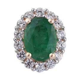 1.05 Ct Kagem Zambian Emerald and Cambodian Zircon Halo Pendant in 9K Gold