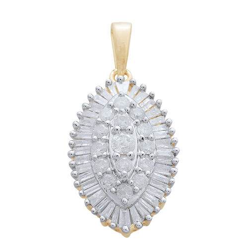 9K Yellow Gold SGL Certified Diamond (Rnd and Bgt) (I3/G-H) Cluster Pendant 1.000 Ct.