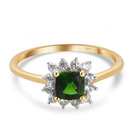 Russian Diopside and Natural Cambodian Zircon Halo Ring in 14K Gold Overlay Sterling Silver 0.83 Ct.