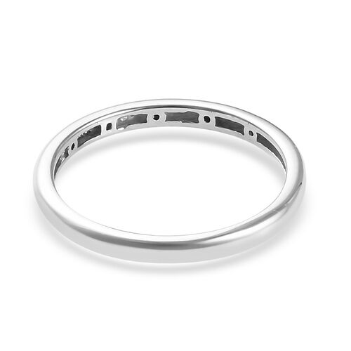 Black Diamond (Rnd) Stacker Band Ring in Platinum Overlay Sterling Silver