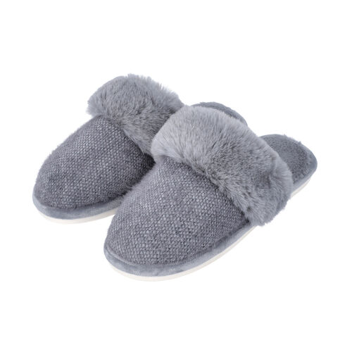 Knitted Chenille Slippers with Faux Fur (Size M: 5-6) - Grey
