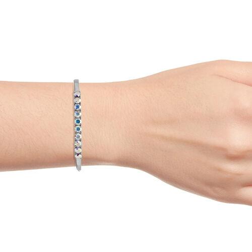 J Francis Crystal from Swarovski - Swarovski AB Crystal (Rnd) Bangle (Size 7.5) in Platinum Plated