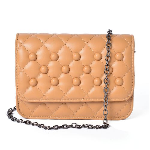 Diamond Quilted Light Beige Colour Crossbody Bag with External Pocket and Chain Strap (Size 20x13x8
