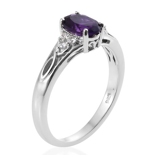 Lusaka Amethyst (Ovl), Natural Cambodian Zircon Ring, Pendant with Chain and Stud Earrings (with Push Back) in Platinum Overlay Sterling Silver 3.250 Ct., Silver wt 5.46 Gms.