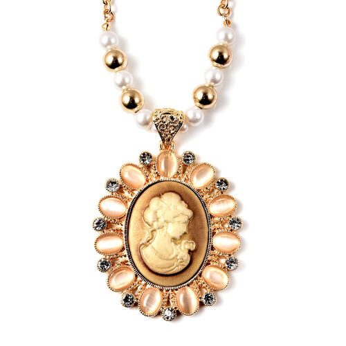 2 Piece Set - White Cats Eye, Simulated White Pearl, White Austrian Crystal Vintage Style Cameo Beaded Necklace (Size 20 with 2 inch Ext.) and Earrings (with push Back) in Gold Tone