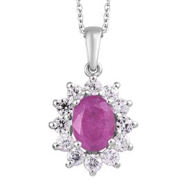 Rare Size Ilakaka Pink Sapphire (Ovl), Natural Cambodian Zircon Pendant With Chain (Size 20) in Plat