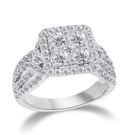 New York Close Out 2.62 Ct Diamond Cluster Ring in 14K White Gold 6.7 Grams