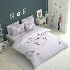 3 Piece Set -  Flower Vine Embroidered Microfibre Pre-washed Quilt (Size 240x250) and Two Pillow cas