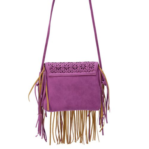 Laser Cut Floral Pattern Purple Colour Crossbody Bag with Fringes (Size 19.5x17 Cm)