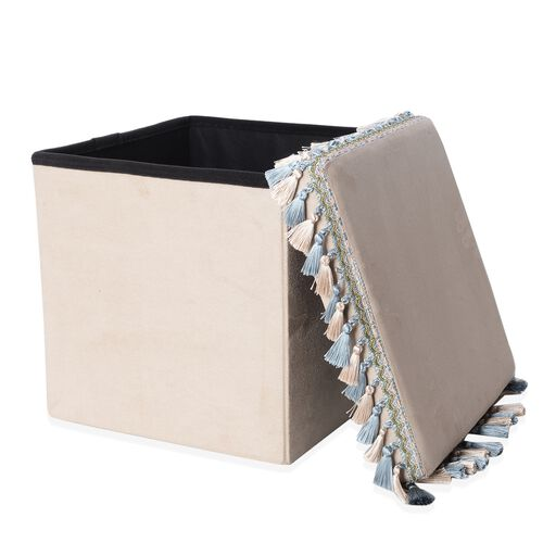 Premium Collection Beige Colour with Blue and Beige Tassels Foldable Storage box with Fringe Square (Size 38x38 Cm)