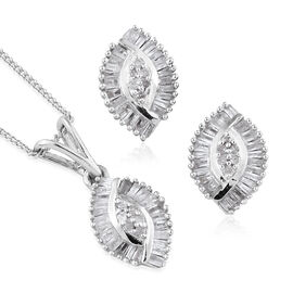Set of 2 - Diamond Earrings (with Push Back) and Pendant with Chain in Platinum Overlay Sterling Silver 0.750 Ct., No. of Diamond 102pcs