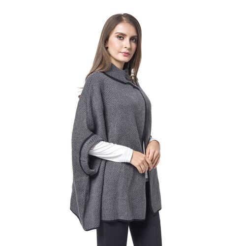 Grey and Black Colour Cape with Metallic Lock at Neck (Size 80X73 Cm)