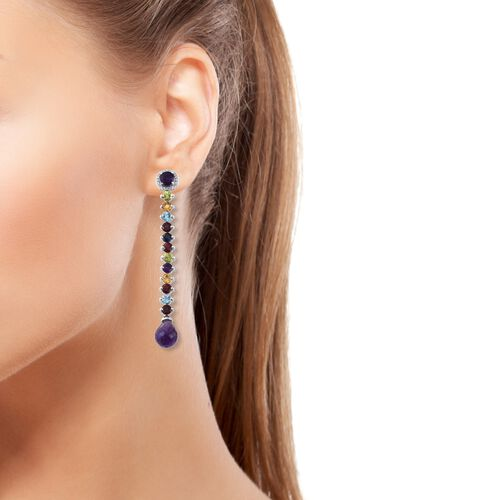 GP Amethyst (Rnd), Mozambique Garnet, Hebei Peridot and Multi Gemstone Dangle Earrings (with Push Back) in Platinum Overlay Sterling Silver 19.250 Ct. Silver wt 7.79 Gms.