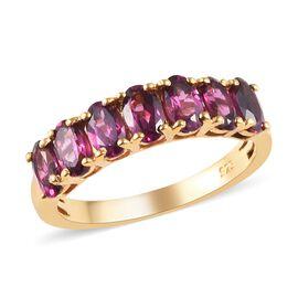 Rhodolite Garnet (Ovl) Seven Stone Ring in 14K Gold Overlay Sterling Silver 2.00 Ct.
