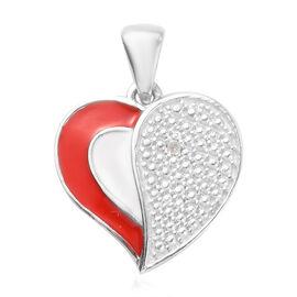 Diamond Enamelled Heart Pendant in Platinum Overlay Sterling Silver