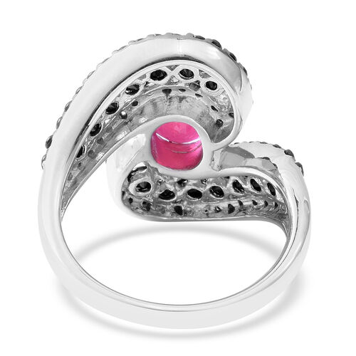 African Ruby (Ovl 2.67 Ct), Boi Ploi Black Spinel Ring in Rhodium and Black Overlay Sterling Silver 5.630 Ct, Silver wt 6.34 Gms.
