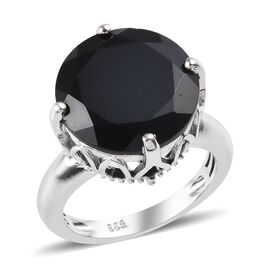 11.75 Ct Boi Ploi Black Spinel Solitaire Ring in Platinum Plated Silver