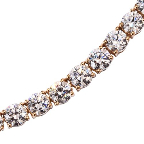J Francis 14K Gold Overlay Sterling Silver (Rnd) Necklace (Size 18) Made with SWAROVSKI ZIRCONIA, Silver wt 24.19 Gms.