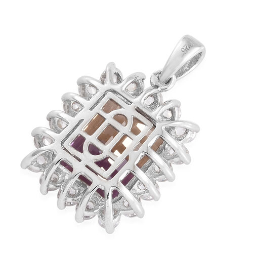 Anahi Ametrine (Oct 6.00 Ct), Natural White Cambodian Zircon Pendant in Platinum Overlay Sterling Silver 7.750 Ct