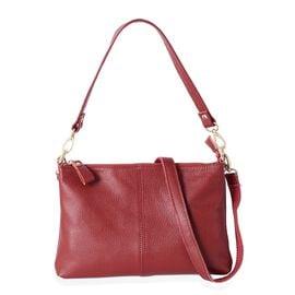 Super Soft 100% Genuine Leather Sassy Red Cross Body Bag with Adjustable and Removable Shoulder Stra