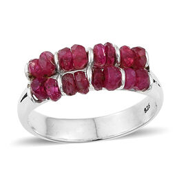 Double Row Ruby (Rnd) Ring in Sterling Silver 3.50 Ct.