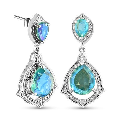 Peacock Triplet Quartz Dangling Earrings (with Push Back) in Platinum Overlay Sterling Silver 7.50 Ct.