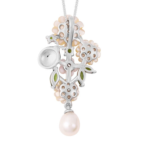 Jardin Collection - Yellow Mother of Pearl, Freshwater Pearl and Multi Gemstone Ladybug Floral Enamelled Pendant with Chain (Size 18) in Rhodium Overlay Sterling Silver