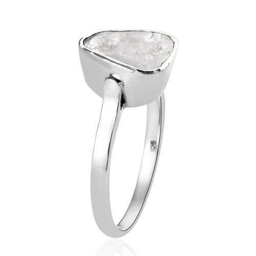 Artisan Crafted Polki Diamond Ring in Platinum Overlay Sterling Silver