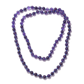 One Time Deal- African Amethyst Round Bead Necklace (Size 36) 280.000 Ct.