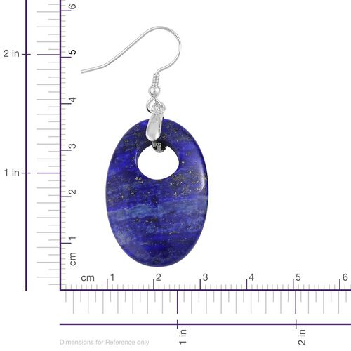 Lapis Lazuli Oval Hook Earrings in Rhodium Plated Sterling Silver 44.000 Ct.