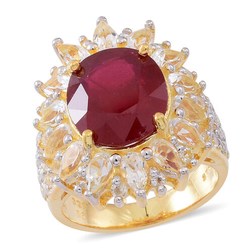 16 Carat African Ruby and White Topaz Halo Ring in 14K Gold Plated Sterling Silver 9 Grams