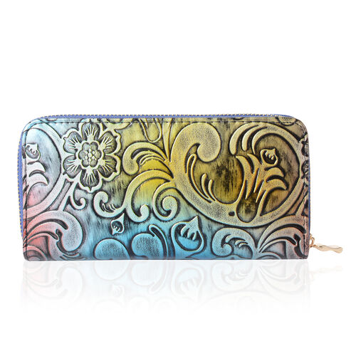 Multi Colour with Floral and Wave Desing Embossed Long RFID Wallet (19X10X2.5cm Large size phone can