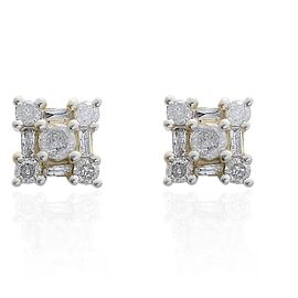 9K Yellow Gold SGL Certified Diamond (I3 / G-H) (Rnd & Bgt) Floral Earrings (with Push Back) 0.500 C
