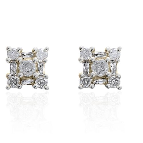 9K Yellow Gold SGL Certified Diamond (G-H/I3) (Rnd & Bgt) Floral Earrings (with Push Back) 0.500 Ct.