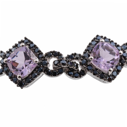 Rose De France Amethyst (Cush), Boi Ploi Black Spinel Bracelet (Size 7) in Black Rhodium Plated Silver 21.420 Ct. Silver wt 14.00 Gms. Number of Gemstone 272